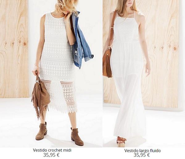 Vestidos blancos largos stradivarius